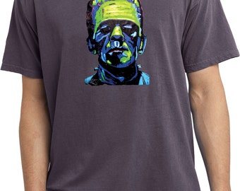 Men's Frankenstein Face Pigment Dyed Tee T-Shirt 20719NBT2-PC099