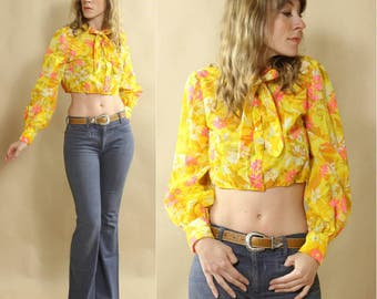 1970s Flurescent Lemon Yellow & Hot Pink Psychedelic Floral, Bishop Sleeve, Bow Collar, Button up Crop Top Hippie Blouse
