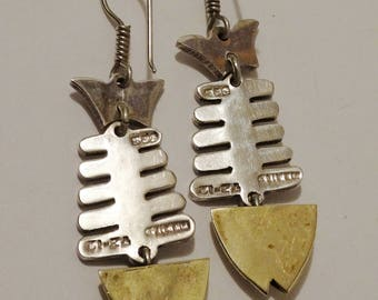 925 Sterling / Brass Vintage Mexico Fish Skeleton Earrings.