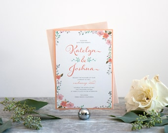 Watercolor Flowers Wedding Invitation, Deposit to Get Started