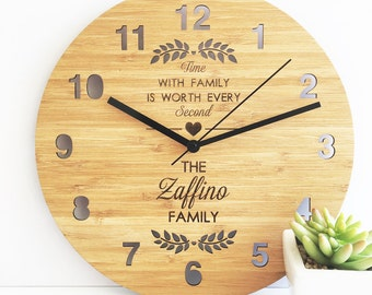 Time With Family Bamboo Clock