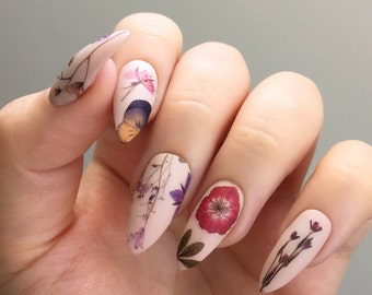 Pressed Dried Flowers Design Water Slide Nail Decals/Nail Tattoos/Nail Stickers
