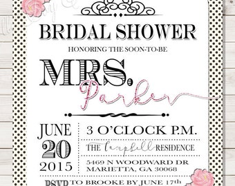 The MRS. Bridal Shower Invitation - Soon-To-Be-MRS. - Black Polka Dots with Pink Floral and Pink Glitter Embellishments