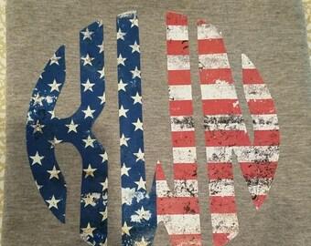 Distressed American Flag monogrammed Shirt