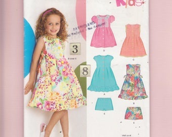 Girl's Summer Ruffled, Empire Waist Dress Sewing Pattern/ New Look 6884 Side tied, pleated, flared skirt sundress UnCut/ 3 4 5 6 7 8 year