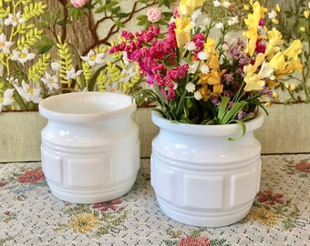 Milk Glass Vase Milk Glass Planter Mid Century Vase White Vases Geometric Planter Mid Century Planter Planter Pot Vintage Planter Sold Each