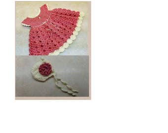 Strawberry Shortcake Dress Size 0-6 Month & Baby Bonnet Pattern w/optional Flower DIGITAL DOWNLOAD ONLY