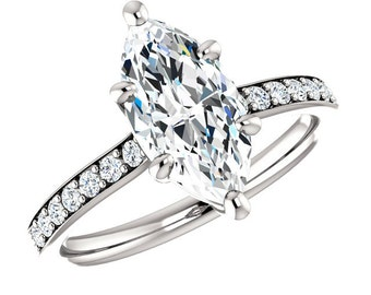 1.80 Carat Marquise SUPERNOVA Moissanite & Diamond Engagement Ring 14k, 18k or Platinum, Moissanite Engagement Rings, Gifts for Women