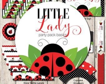 Ladybug Party Pack Kit, Ladybug Printables, Ladybug Printable Party, Ladybug Shower Printables, Ladybug Party Package, Ladybug Decorations