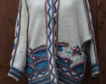 Oversized Pastel Knit High Neck Cardigan