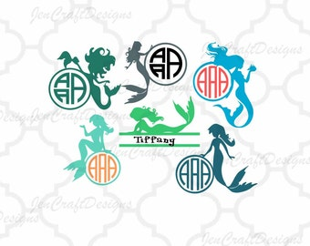 Mermaid Svg, Mermaid Monogram Svg, Mermaid Svg Files, Split Mermaid Svg, Split Monogram Svg, Circle Monogram Svg, Nautical Svg