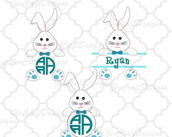 Bunny Boy Easter SVG Easter Rabbit Monogram Frames Svg, Easter Split Monogram SVG,EPS,Dxf,digital  download files Silhouette Cricut