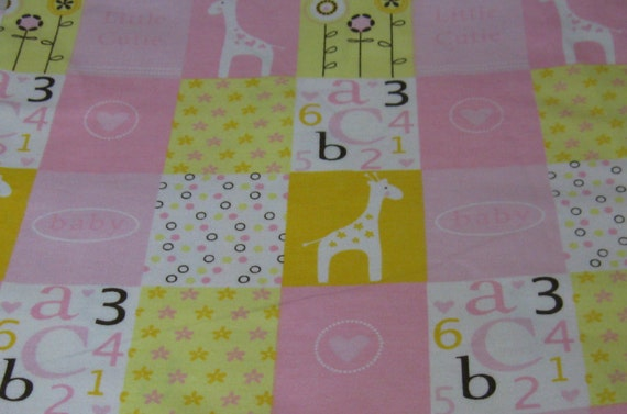 Flannel fabric by the yard pink yellow white multi color for Children s flannel fabric by the yard