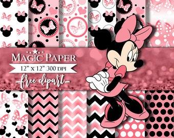 50% OFF SALE Minnie mouse Digital Papers, Paper, Clipart Clip Art