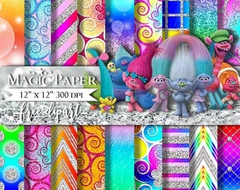 Trolls Digital Paper, ClipArt, Scrapbook Paper Pack