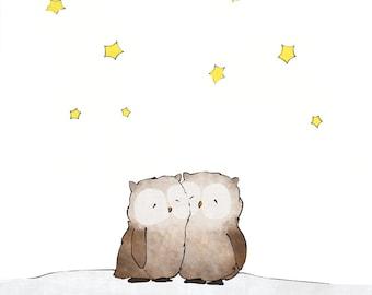 Owls Napping Art Print