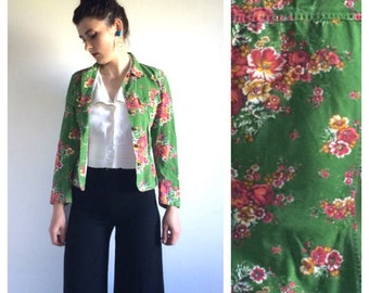 Kenzo Jean Green and Red Floral Jacket s S