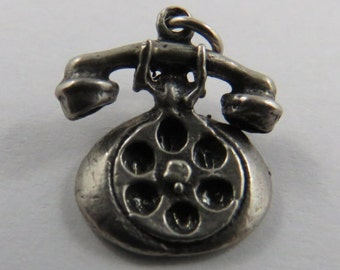 I Love You Rotary Dial Telephone Sterling Silver Vintage Charm For Bracelet