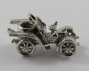 Old Fashion Convertible Car Sterling Silver Vintage Charm For Bracelet