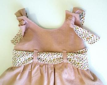 girls Pinafore dress, size 5, girls Linen Jumper, girls overall dress, girls ruffled dress, Spring, Winter dress, girls play dress,