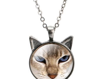 Cat face pendant with chain
