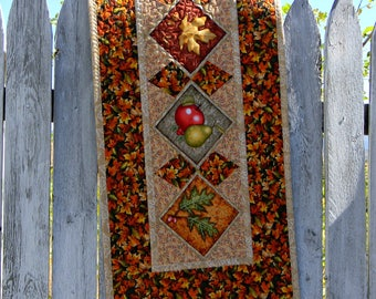 Autumn Harvest Table Runner Colorful Fall Table Topper Quilted Fabric  Patchwork Thanksgiving Home Decoration Rectangle Centerpiece