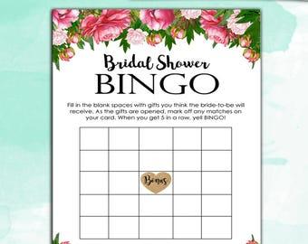 Bridal Shower Game - Bridal BINGO - Peony Bouquet - Instant Printable Digital Download - diy Bridal Shower Printables Decor Decoration Pink