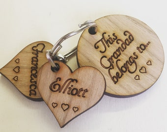 Personalised Keyring, Personalised Grandad Gift, Personalised Grandma Gift, Personalised Mothers Day Gift, Wooden Keyring