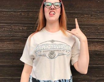 M crop top Harley Davidson t-shirt, up cycled tee, hipster beachwear by Restored Rose, Palm Springs, motorcycle club