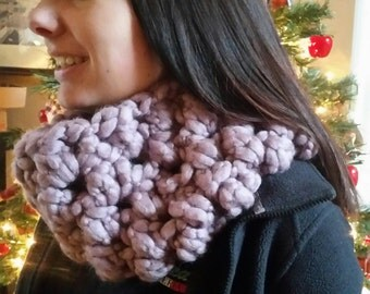 Chunky Lavender / Lilac / Light Mauve Cowl Neck Warmer