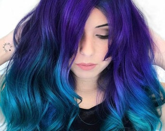 100% Human Hair Extensions : Galaxy Ombre Hair, Violet Blue Ombre, Colorful Dip Dyed Hair, Hair Extensions, Summer Hair, Festival Hair