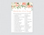 Disney Love Songs Match Game - Printable Peach Floral Bridal Shower Love Song Game - Peach, Cream, and Green Garden Bridal Shower Game 0028