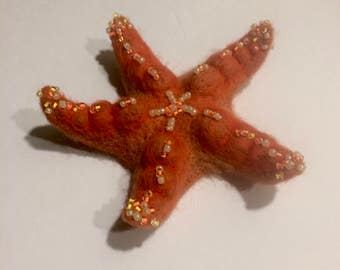Needle felted Starfish,  Sea Starfish, wool starfish, orange starfish, customer order