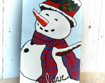 Handpainted Snowman Sign on Wood.