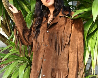Vintage 70's brown suede fringed jacket