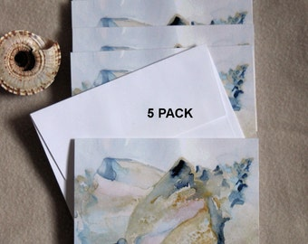Beach Note Cards 5 Blank Seashore Notecards Seashell Conch Shell Beach House Hostess Gift Summer Watercolor Thank You Greeting card Shore