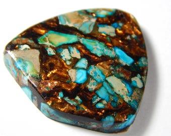 1 Pc - 45x40x6mm Sea Sediment Jasper And Pyrite Pendant Bead - Gemstone Pendant - Focal Bead - Gemstone Beads - Jewelry Supplies