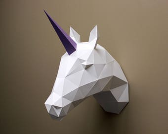 Vera the Unicorn - Unicorn Horn, Paper Unicorn, Unicorn Head, Fauxidermy, Unicorn Decor, Animal Decor Home, Do It Yourself, Craft Kit, DIY