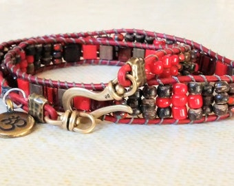 Handmade Red and brown beaded double wrap bracelet