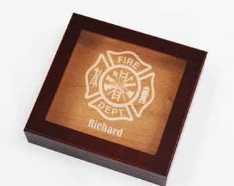 Engraved Humidor Cigar Box, Etched Fireman Gift Boxes, Personalized Maltese Cross, Firefighter Gifts, Fire Department, Women Firefighters