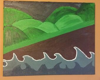 Ocean Storm and Calm Mountains Canvas Art