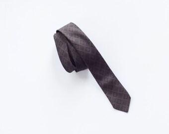 Mid Century Skinny Dark Brown and Black Patterned Tie