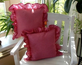Cushion cover in Vichy Red