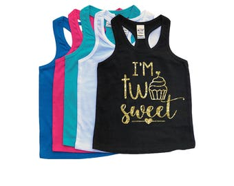 I'm TWO Sweet - TWO Year Old - 2nd Birthday - Two - Racerback Tank Top - Birthday Girl - Second Birthday - Toddler Girl - Toddler Birthday