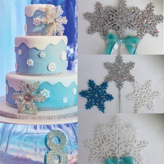 Etsy Frozen Cake Decorations : Frozen cake topper Frozen Centerpieces Snowflake cake