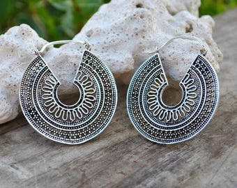 Brass Silver Earrings, Hoop earrings, Boho Earrings, Retro gypsy hoops, Brass Jewerly, Bohemian Jewelry, Elegant gypsy, festival bijoux