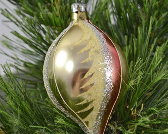 Vintage Teardrop Glass Christmas Ornament With Glitter And Flocking