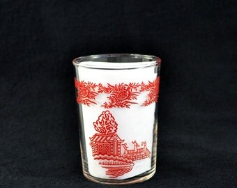 Vintage Federal Glass Asian Theme Juice Glass
