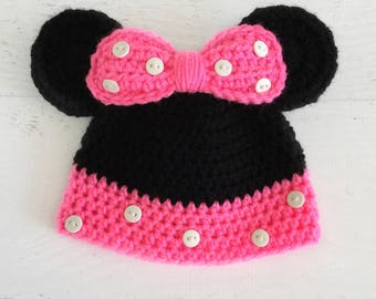 Newborn Minnie Mouse Beanie, Minnie Mouse Hat, Minnie Mouse Ears Hat, Cute Baby Mouse Hat, Minnie Mouse Hat With Ears, Minnie Mouse Hat