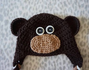 Crochet Monkey Hat - 0-3 Months